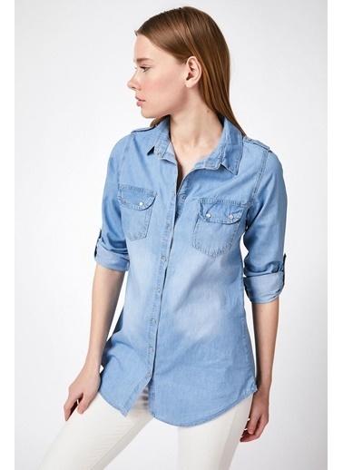 Pattaya Pattaya Kadın Çıtçıt Düğmeli Cepli Katlanabilir Kol Kot Gömlek Y20S110-3410 Mavi
